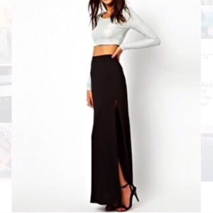 ASOS Lipsy Maxi Skirt with Split - Black